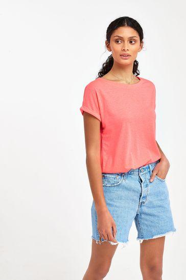 Fluro Pink Cap Sleeve T-Shirt