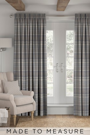Ludlow Dis Check Navy Purple Made To Measure Curtains