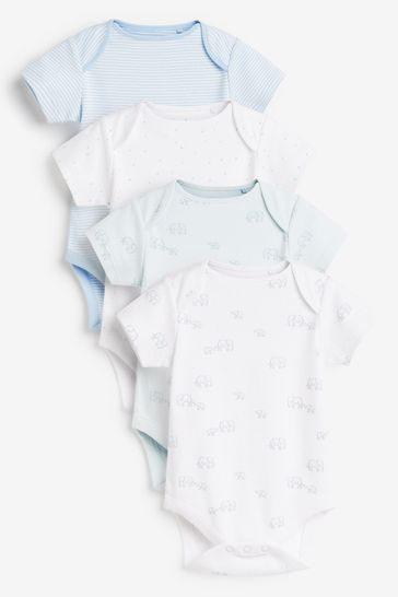 Pale Blue 4 Pack GOTS Organic Delicate Elephant Short Sleeved Bodysuits (0mths-3yrs)