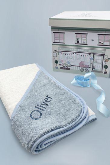 Babyblooms Personalised Blue Luxury Hooded Baby Towel With Hood