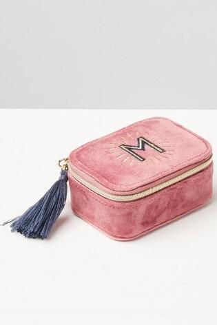 Oliver Bonas Sol Pink Velvet Alphabet M Travel Jewellery Box