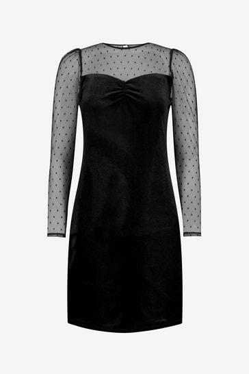 Wallis Black Dobby Print Velvet Dress