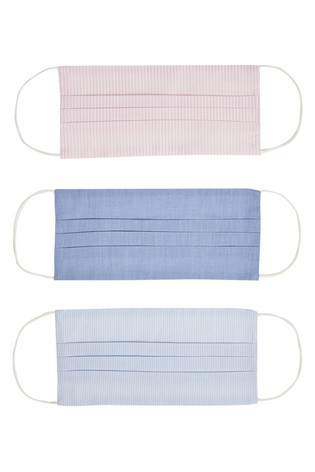 Oliver Bonas Blue Reusable Chambray & Striped Face Coverings Three Pack