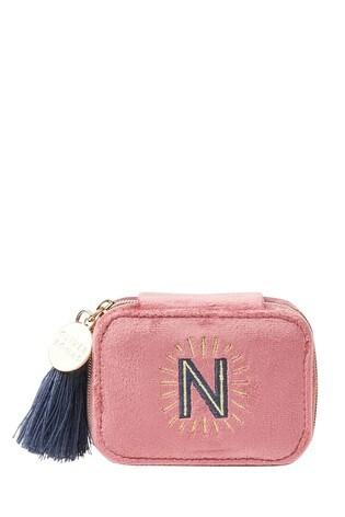 Oliver Bonas Sol Pink Velvet Alphabet N Travel Jewellery Box