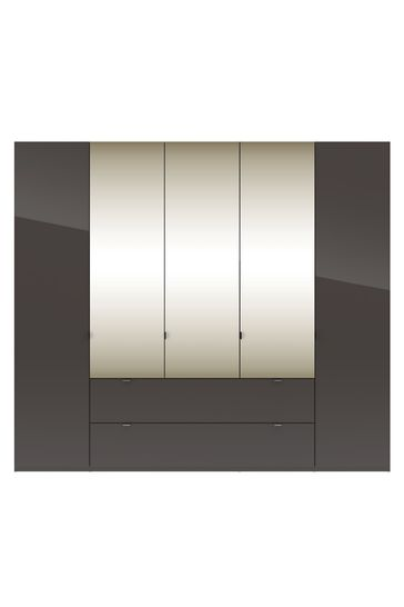 Monroe 2.5M Glass Hinged 5 Door Wardrobe