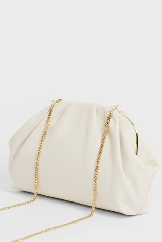 Ted Baker Cream Abyoo Gathered Leather Clutch Bag