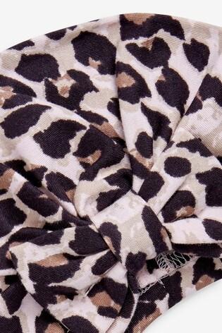 Pink/Black Leopard Turban (0-18mths)