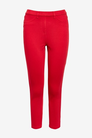 Red Jersey Cropped Leggings