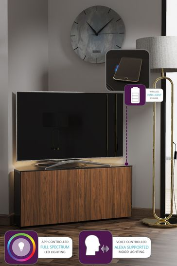 Frank Olsen Smart LED Black and Walnut Corner TV Unit