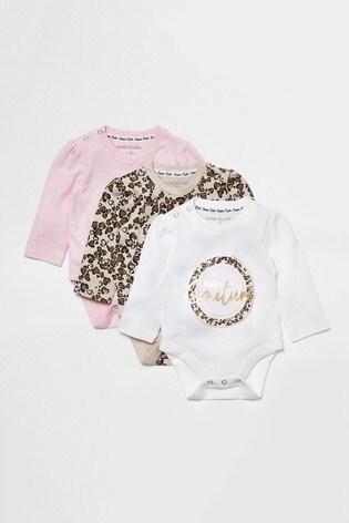 River Island Pink Light Leopard Babygrow 3 Pack