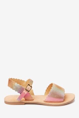 Multi Leather Scalloped Sandals (Older)