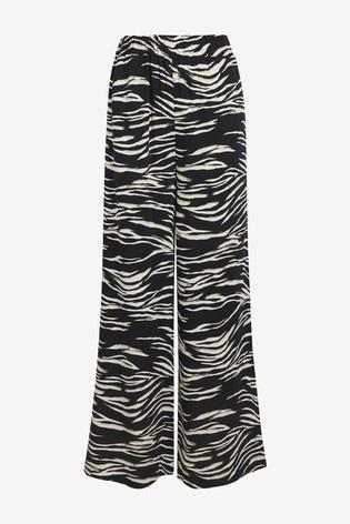 Zebra Print Wide Leg Trousers