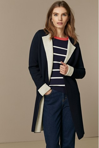 Wallis Blue Navy Double Faced Coatigan