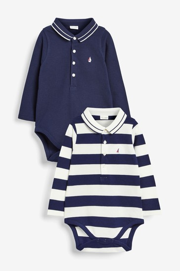 Navy/White Two Pack Stripe Pique Polo Bodysuits (0mths-2yrs)