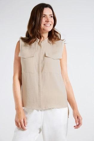 F&F Camel Utility Power Shoulder Shirt