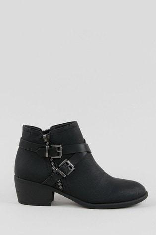 Wallis Avenger Black Double Buckle Boots