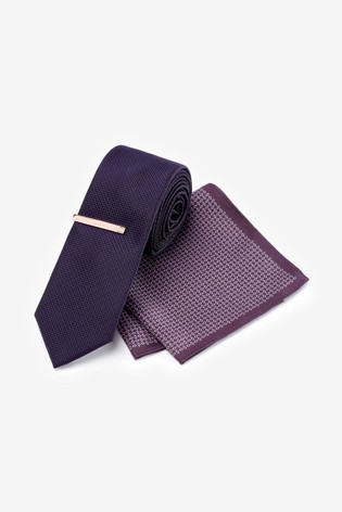 Purple Tie With Geometric Pocket Square Set