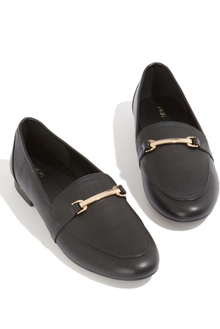Oasis Black Bowie Buckle Loafers