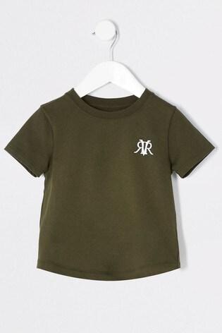 River Island Khaki Dark Embroidery Multi T-Shirt