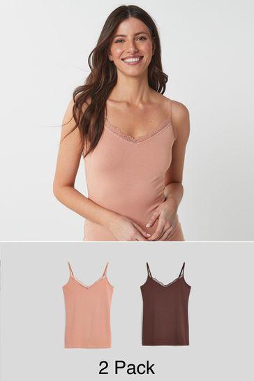 Nude/Dark Nude Lace Trim Vests 2 Pack