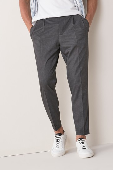 Grey Twin Pleat Trousers