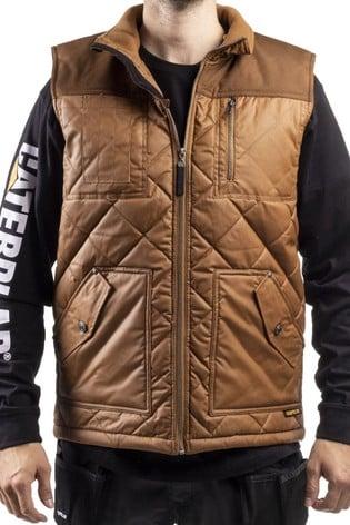 CAT® Brown Waxed Cotton Vest Gilet