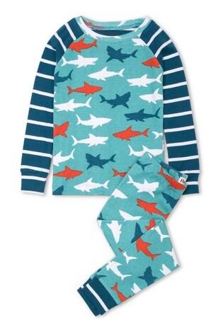 Hatley Blue Great White Sharks Organic Cotton Pyjama Set