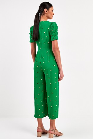 Whistles Green Romantic Floral Puff Sleeve Jumpsuit