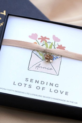 Personalised Flower Bracelet Gift Box by Posh Totty Designs