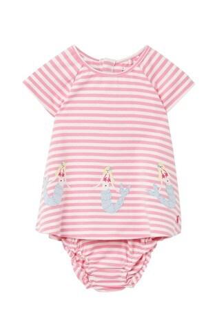 Joules Pink Twiggy Jersey Dress And Knicker Set