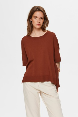 Selected Femme Rust Lightweight Knitted T-Shirt Top