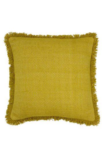 Sienna Linen Look Frayed Edge Cushion by Furn