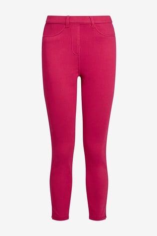Hot Pink Jersey Cropped Leggings