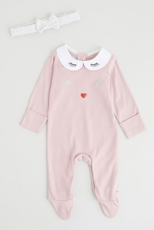 Angel & Rocket Pink Collared Eyelash Back Opening All-In-One