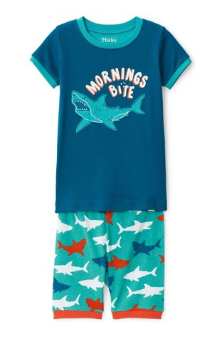 Hatley Blue Great White Sharks Cotton Short Pyjama Set
