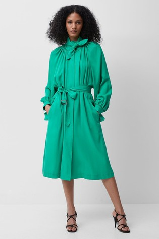 French Connection Green Adula High Neck Trench Coat