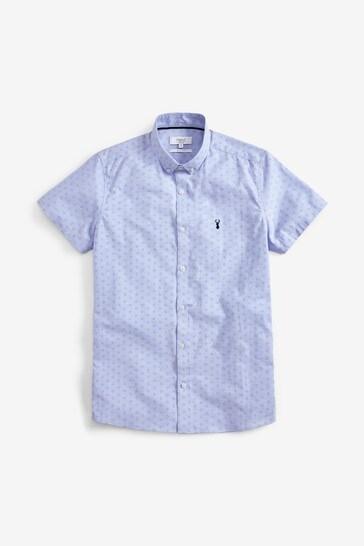 Blue Print Short Sleeve Stretch Oxford Shirt