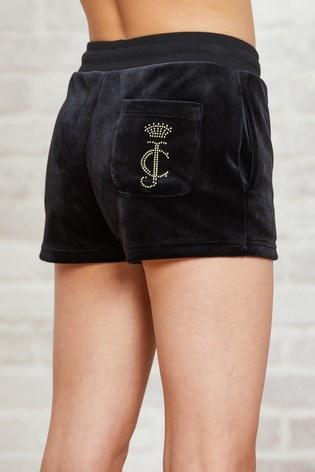 Juicy Couture Luxe Velour Diamanté Shorts