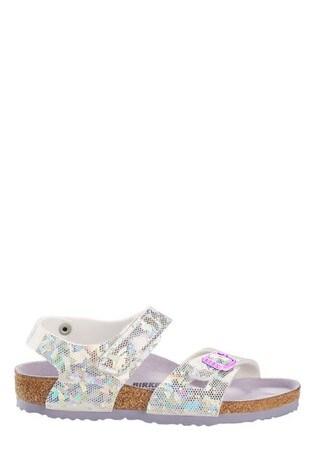 Birkenstock® Silver Holographic Velcro Colorado Sandals