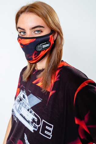 Hype. x Back To The Future Black Flame Print Face Covering