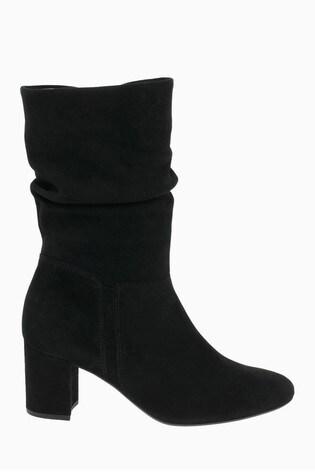 Gabor Vangola Black Suede Calf Length Fashion Boots