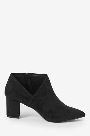Black Forever Comfort® Side V Block Heel Boots