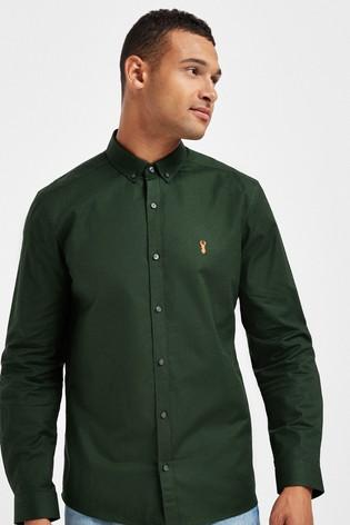 Green Slim Fit Long Sleeve Stretch Oxford Shirt