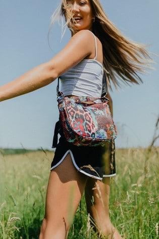 Hype. Womens Multi Neon Leopard Iowa Side Bag