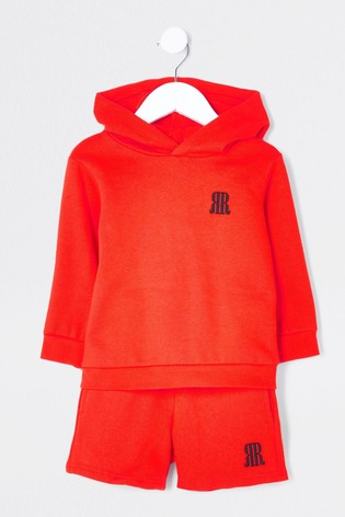 River Island Red Hoodie And Shorts Set