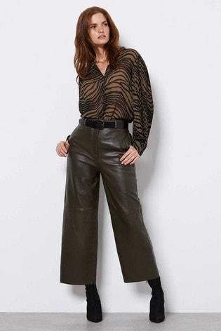 Mint Velvet Khaki Leather Culotte Trousers