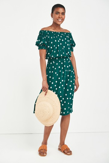 Green Spot Off The Shoulder Dress