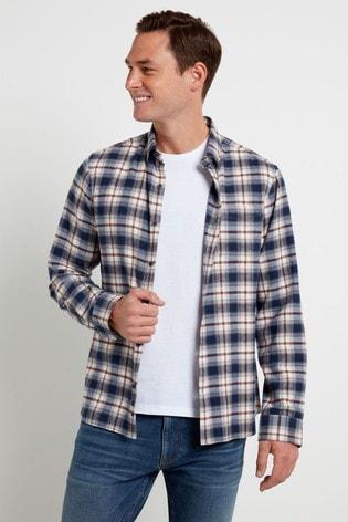 F&F Blue Long Sleeve Herringbone Flannel Check Shirt