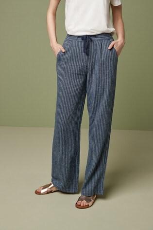 Navy Stripe Linen Blend Wide Leg Trousers