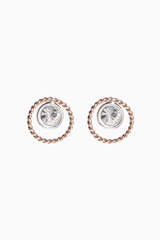 Sterling Silver Rose Gold Plated Crystal Stud Earrings